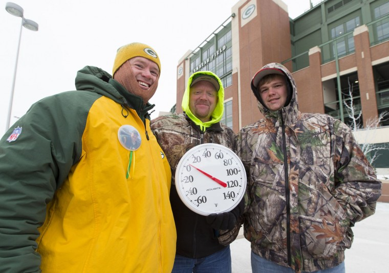 Green Bay Packers fans Mike McGinnity, Scott Herbst and Justin Herbst hold a thermometer outside Lambeau Field prior to the 2013 NFC wild card playoff football game between the San Francisco 49ers and the Green Bay Packers. (Jeff Hanisch/USA Today Sports)