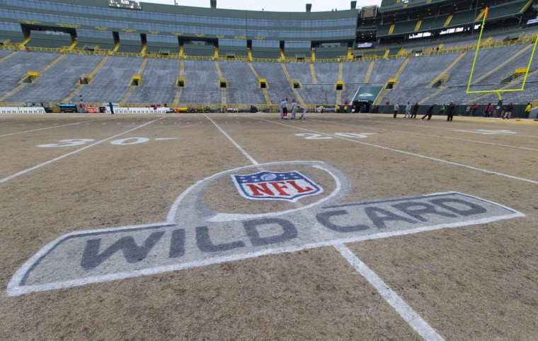 The NFL Wild Card logo on the field prior to the 2013 NFC wild card playoff football game between the San Francisco 49ers and the Green Bay Packers at Lambeau Field. (Jeff Hanisch/USA Today Sports)