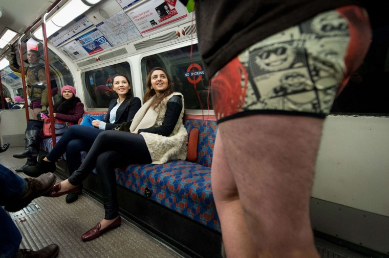 "Participants in the13th annual International ""No Pants Subway Ride"" travel on a London underground train in London, on January 12, 2014. (Leon Neal/AFP Getty Images)"
