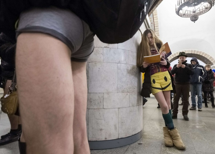 "Passengers without their pants wait on a underground platform during the ""No Pants Subway Ride"" in Kiev January 12, 2014. The event is an annual flash mob and occurs in different cities around the world in January, according to its organizers. (Gleb Garanich/Reuters)"