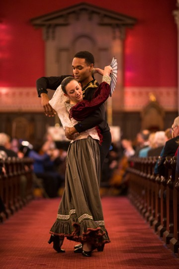"""Omari Contaste, 21, holds Desiree Koomtz-Nachtrieb, as they perform a dance down the aisle during the song """"España"""". They are both members of the Howard County Ballet. (Nate Pesce/BSMG)"""