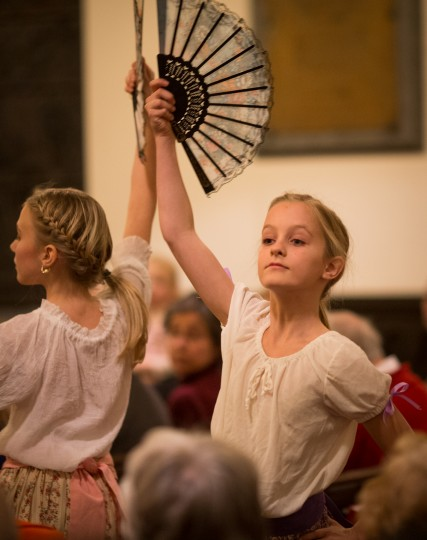 """Audrey Hill, 11, right, from the Howard County Ballet, performs with others during Danza Española No. 5, """"Andaluza"""". (Nate Pesce/BSMG)"""