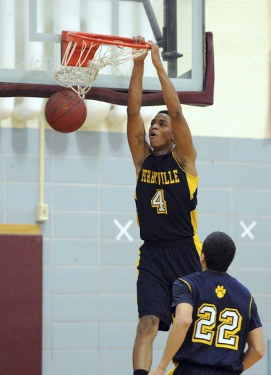 Perryville's Tyrell Hollingsworth slams the ball down during Tuesday night's game at Havre de Grace. (Matt Button/Aegis staff)