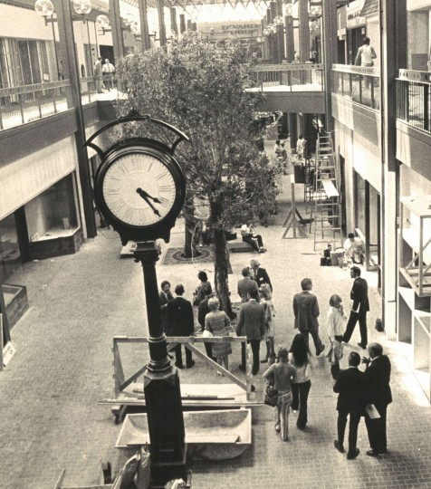 Photo from August 1, 1971 Original caption: Customers will replace workmen and observers in the Mall tomorrow, one day before opening. (Baltimore Sun Photo/Frank R Gardina)