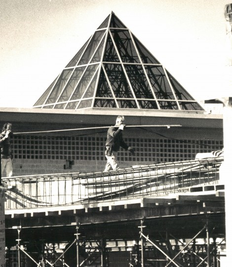 Photo from March 29, 1971 Original caption: Downtown Columbia is getting a major shopping center with two department stores . the center , due to open in the fall , eventually will have 100 stores . The pyramids on the roof-tops are skylights which will give shoppers in the enclosed mall a look at the sky. (Baltimore Sun Photo/Lloyd Pearson)