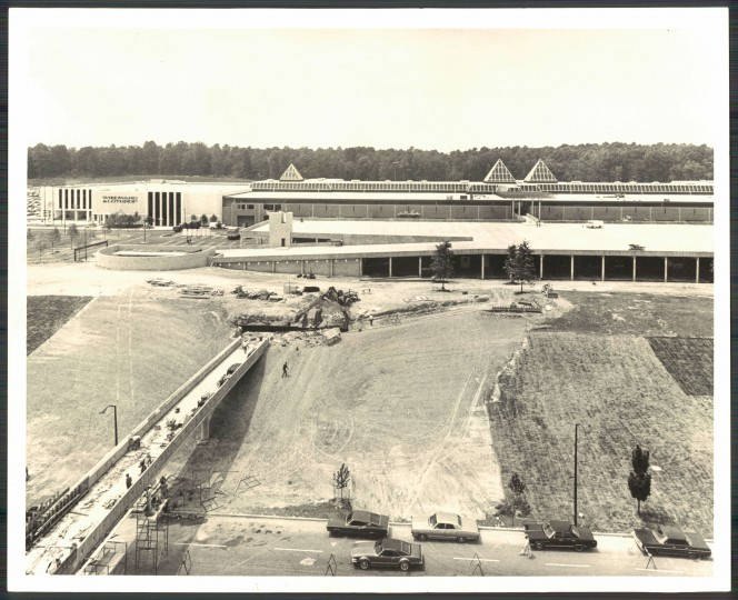 Photo from Aug. 1, 1971: Original caption: Maryland's largest retailing center with 14 acres under roof is enclosed Columbia Mall will be expandable to 2 million square feet. The Rouse Company project is to include 102 stores, two department stores in first phase of the commercial development . pedestrian link at left goes to American city Building in downtown complex. (Baltimore Sun Photo/William L klender)