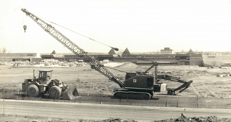 Photo from March 21, 1980 Original caption: Excavation work nears completion for the expansion of the Columbia Mall in Columbia. Sears will anchor the 400,000 square foot addition to the Rouse Co. shopping complex. (Baltimore Sun Photo/Clarence B. Garrett)
