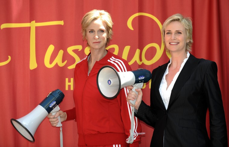 Actress Jane Lynch attends the unveiling of her wax figure at Madame Tussauds Hollywood on August 4, 2010 in Hollywood, California. Jane Lynch is Sue Sylvester, star of the television serie Glee. (Gavriel Bouys/Getty Images)