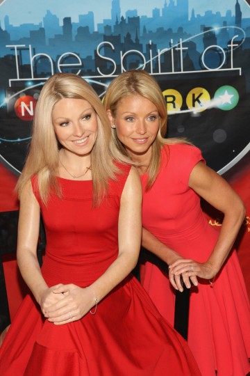 TV personality Kelly Ripa (R) attends the unveiling of her wax figure at Madame Tussauds New York at Madame Tussauds on April 5, 2011 in New York City. (Bennett Raglin/Getty Images)