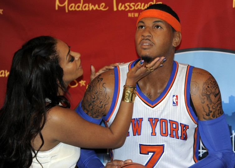 New York Knicks star Carmelo Anthony's wife LaLa Vasquez pose with Carmelo next to his wax likeness at the unveiling at Madame Tussauds New York June 26, 2012. Anthony was an active participant in the creation process as well and spent more than three hours with a team of Madame Tussauds studio artists who took hundreds of precise measurements and photos to ensure the accuracy of his wax figure ? including the meticulous recreation of Anthony's signature tattoos. (Timothy A. Clary/Getty Images)