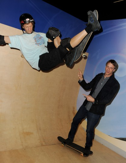 "Pro Skater Tony Hawk poses with a wax figure of himself at the after party for the premiere of Relativity Media's ""Movie 43"" at Madame Tussaud's Hollywood on January 23, 2013 in Los Angeles, California. ( Kevin Winter/Getty Images)"