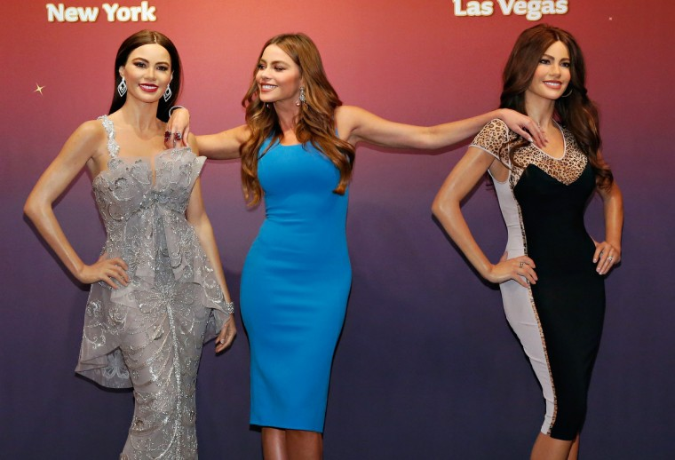 Actress Sofia Vergara (C) unveils two Madame Tussauds wax figures in her likeness for display at Madame Tussauds locations in New York and Las Vegas on June 4, 2013 in New York City. (Cindy Ord/Getty Images)