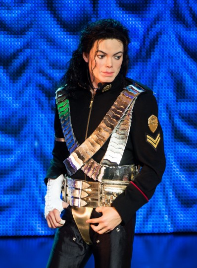 A waxwork figure of Michael Jackson stands on stage as Madame Tussauds unveil 3 new Michael Jackson waxworks at Lyric Theatre on June 24, 2013 in London, England. (Ian Gavan/Getty Images)