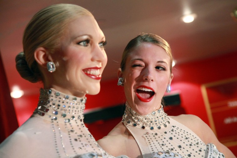 Radio City Rockette, Taylor Shimko (R) poses for photo with the 2011 Rockette wax figure at Madame Tussauds on December 1, 2011 in New York City. (Astrid Stawiarz/Getty Images)