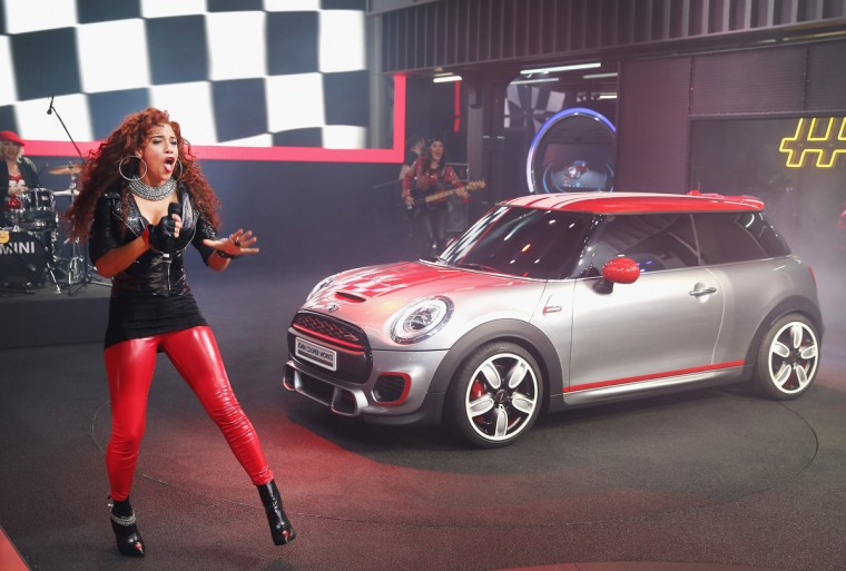 Singer Natalie La Rose helps to introduce the MINI John Cooper Works Concept car at the North American International Auto Show in Detroit, Michigan. The auto show opens to the public January 18-26. (Scott Olson/Getty Images)