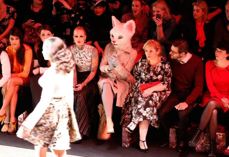 Spectators attend the Rebekka Ruetz show during Mercedes-Benz Fashion Week Autumn/Winter 2014/15 at Brandenburg Gatein Berlin, Germany. ( Andreas Rentz/Getty Images for IMG)