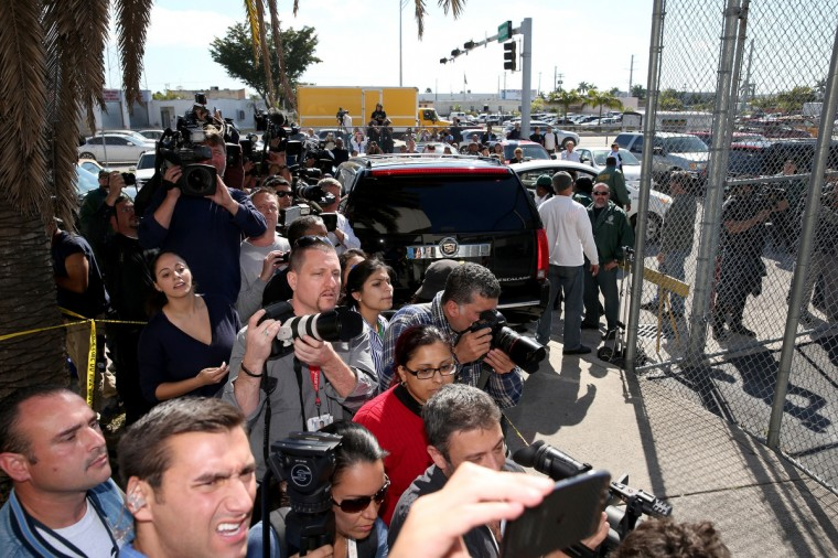 Media wait for Justin Bieber to exit from the Turner Guilford Knight Correctional Center on January 23, 2014 in Miami, Florida. Justin Bieber was charged with drunken driving, resisting arrest and driving without a valid license after Miami Beach police found the pop star street racing Thursday morning. (Joe Raedle/Getty Images)
