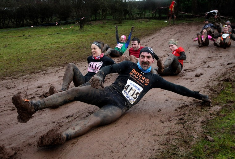 Participants make their way round the course during the Tough Guy Challenge on January 26, 2014 in Telford, England. (Ben Hoskins/Getty Images)