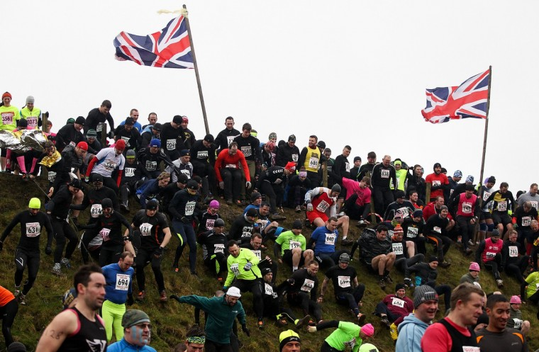 The race gets underway during the Tough Guy Challenge on January 26, 2014 in Telford, England. (Ben Hoskins/Getty Images)