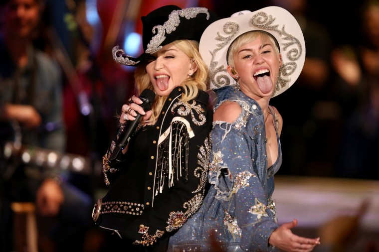 Madonna and Miley Cyrus perform onstage during Miley Cyrus: MTV Unplugged at Sunset Gower Studios in Hollywood, California. (Christopher Polk/Getty Images)