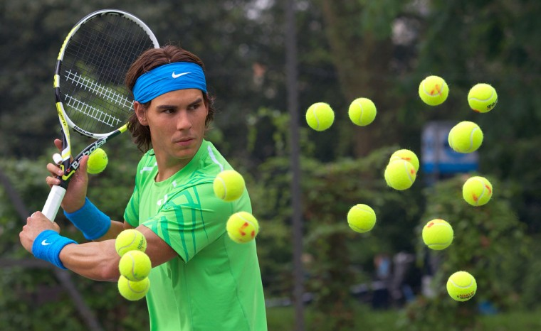 A new waxwork figure of Spanish tennis player Rafael Nadal is unveiled at a photocall in Regents Park in central London, on May 23, 2012. The waxwork will later take up residence amongst other sporting stars at the Madame Tussauds museum in London. (Andrew Cowie/Getty Images)