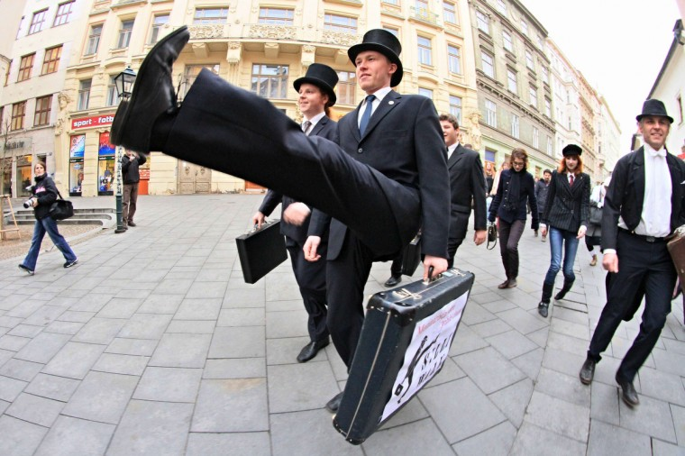 Supporters of British comedy group Monty Python perform their skills during the International Silly Walk Day in Brno, Czech Republic. More than 100 fans in costumes presented the Silly Walk, based on a sketch from the Monty Python troupe. (Radek Mica/Getty Images)