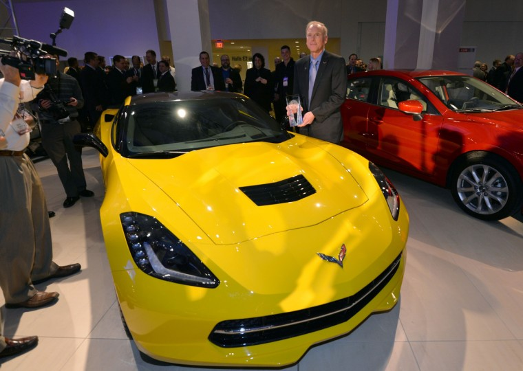 Tadge Juechter, Chief Engineer of Cadillac XLR and Chevrolet Corvette at General Motors(GM) stands with the 2014 Chevrolet Corvette Stingray, named the North American Car of the Year. (Stan Honda/Getty Images)