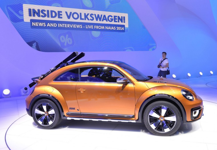 The Volkswagen Beetle Dune is presented during a press preview at the North American International Auto Show in Detroit, Michigan. (Stan Honda/AFP/Getty Images)