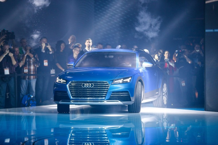 The Audi E-Tron Quattro Allroad Concept vehicle is unveiled at the 2014 North American International Auto Show in Detroit, Michigan. (Geoff Robins/AFP/Getty Images)