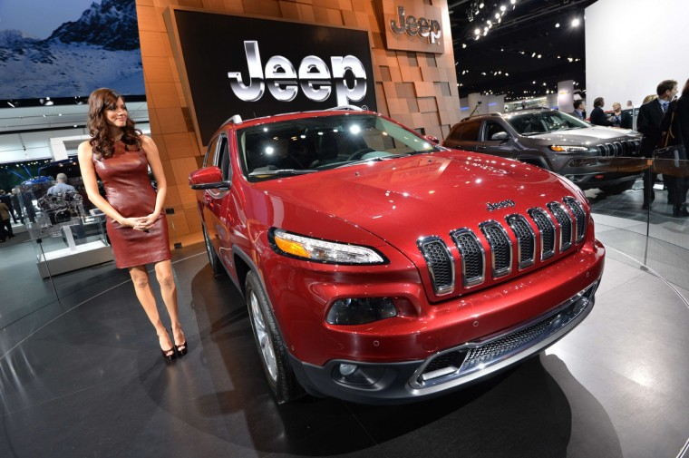 The Jeep Cherokee on display at the North American International Auto Show in Detroit, Michigan. (Stan Honda/AFP/Getty Images)