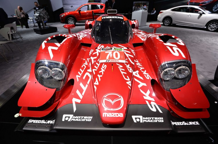 Mazdas SKYACTIV-D diesel racecar on display at the North American International Auto Show January 14, 2014 in Detroit, Michigan. (Stan Honda/AFP/Getty Images)