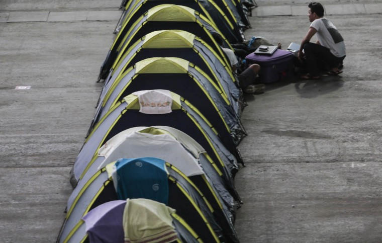 Tents set up for the participants in the Campus Party Brazil. ( Miguel Schincariol/Getty Images)
