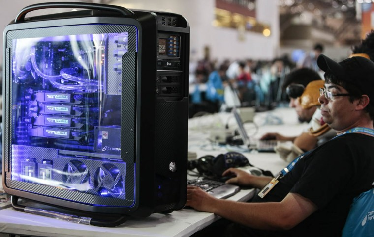 The computer of one of the participants in the Campus Party Brazil. (Miguel Schincariol/Getty Images)
