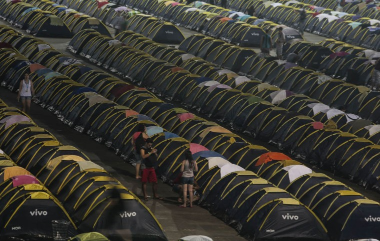 Tents are set up for the participants of the Campus Party Brazil. About 160,000 visitors are expected to attend the event. (Miguel Schincariol/Getty Images)