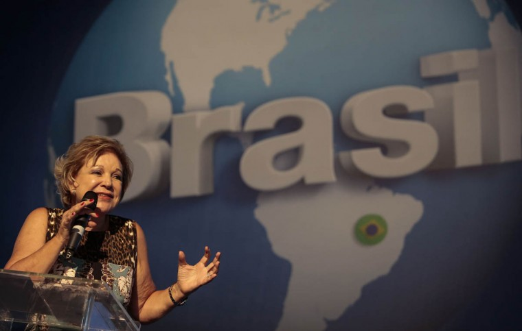 Brazilian Culture Minister Marta Suplicy delivers a speech during the technological event Campus Party Brazil. (Miguel Schincariol/Getty Images)
