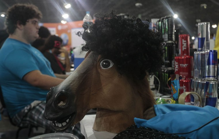 A horse mask of a participant sits on a table at the technological event Campus Party Brazil. (Miguel Schincariol/Getty Images)