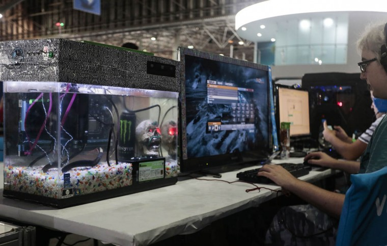 A participant of the technological event Campus Party Brazil uses a computer. About 160,000 visitors are expected to attend the event. (Miguel Schincariol/Getty Images)