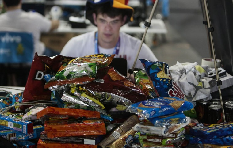 Snacks stocked by a participant of the technological event Campus Party Brazil. (Miguel Schincariol/Getty Images)