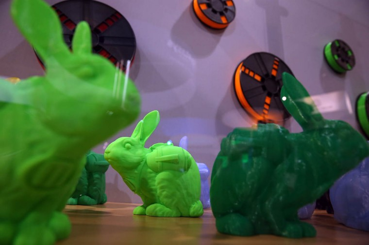 Rabbits made with a MakerBot 3D printer are displayed in the MakerBot booth at the 2014 International CES at the Las Vegas Convention Center in Las Vegas, Nevada. CES, the world's largest annual consumer technology trade show, runs through January 10 and is expected to feature 3,200 exhibitors showing off their latest products and services to about 150,000 attendees. (Justin Sullivan/Getty Images)