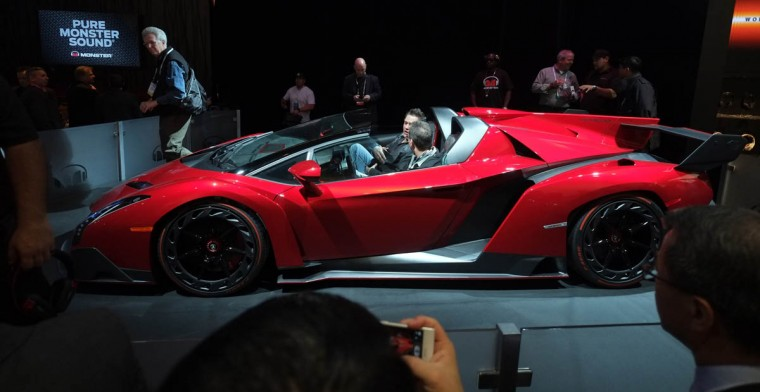 The Lamborghini Veneno Roadster equipped and promoted by Monster Audio is displayed during the 2014 International CES at the Las Vegas Convention Center in Las Vegas, Nevada. CES, the world's largest annual consumer technology trade show, runs through January 10 and is expected to feature 3,200 exhibitors showing off their latest products and services to about 150,000 attendees. (Joe Klamar/Getty Images)