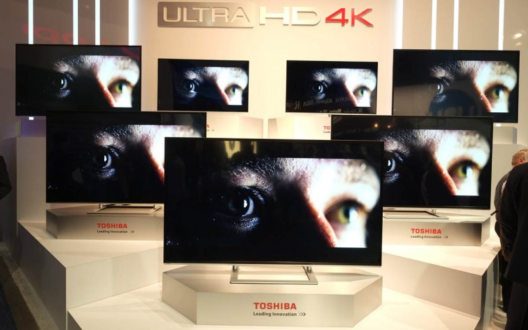 Toshiba's 4K UHD TVs are seen during the 2014 International CES at the Las Vegas Convention Center in Las Vegas, Nevada. CES, the world's largest annual consumer technology trade show, runs through January 10 and is expected to feature 3,200 exhibitors showing off their latest products and services to about 150,000 attendees. (Joe Klamar/Getty Images)