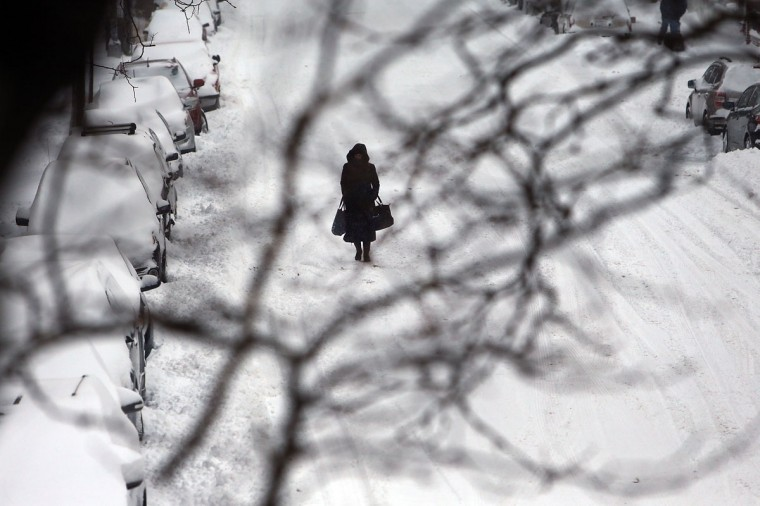 A woman walks down a snow-covered street in Brooklyn following a storm that left up to 8 inches of snow on January 3, 2014 in New York. (Photo by Spencer Platt/Getty Images)