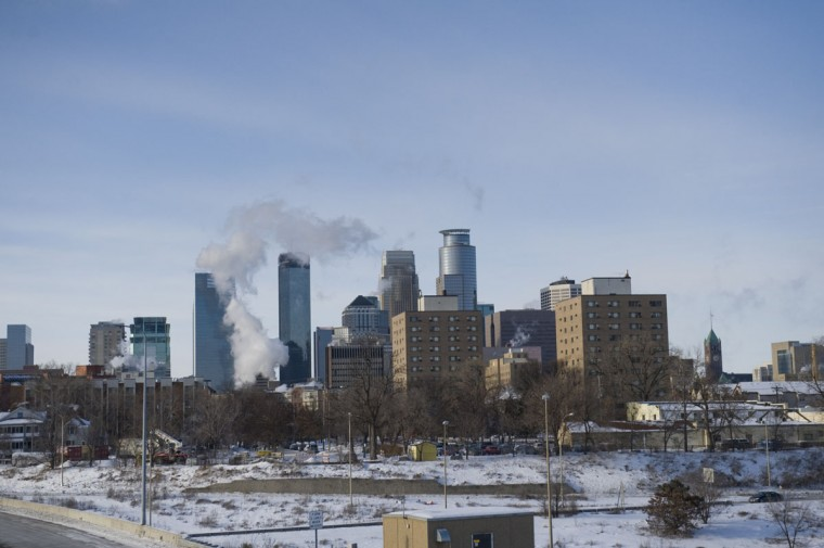 A view of downtown as the Minneapolis area deals with record-breaking freezing weather January 6, 2014. (Photo by Stephen Maturen/Getty Images)