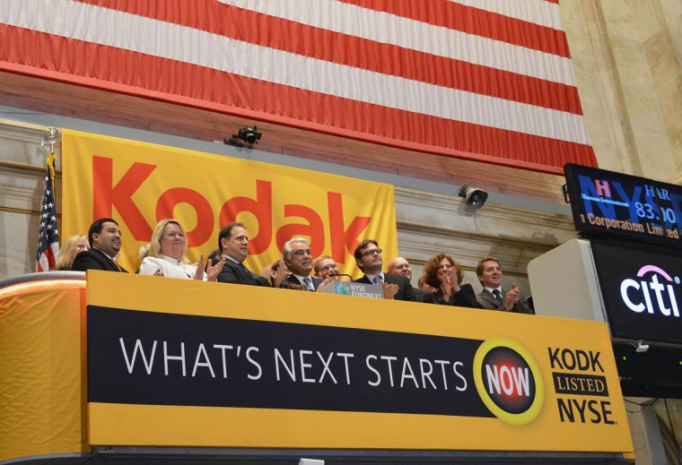 Antonio M. Perez (C), CEO, Eastman Kodak Company and members of the company's leadership team ring the opening bell at the New York Stock Exchange to highlight Kodak's transformation into a technology company, at New York Stock Exchange on January 8, 2014 in New York City. (Slaven Vlasic/Getty Images)
