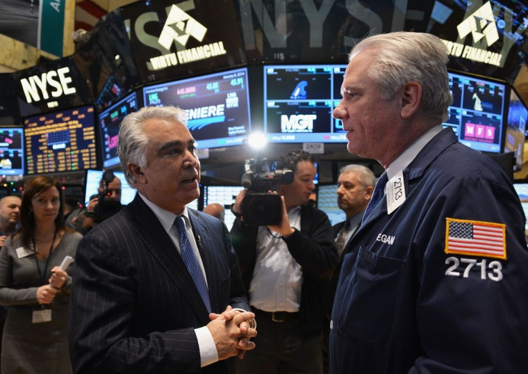 Eastman Kodak Company CEO Antonio M. Perez (L) visits the New York Stock Exchange to highlight Kodak's transformation into a technology company at New York Stock Exchange on January 8, 2014 in New York City. (Slaven Vlasic/Getty Images)
