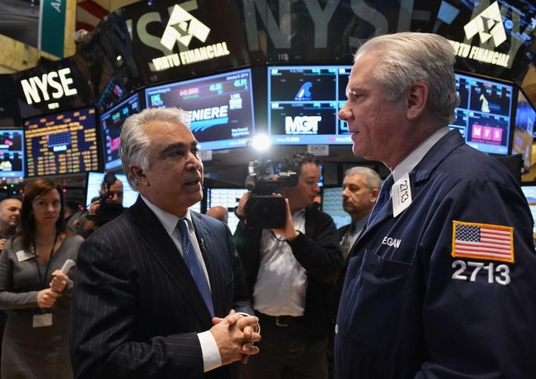 Eastman Kodak Company CEO Antonio M. Perez (L) visits the New York Stock Exchange to highlight Kodak's transformation into a technology company at New York Stock Exchange on January 8, 2014 in New York City. (Slaven Vlasic/Getty Images)