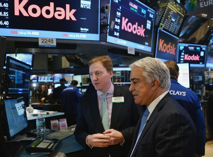 Eastman Kodak Company CEO Antonio M. Perez (R) visits the New York Stock Exchange to highlight Kodak's transformation into a technology company at New York Stock Exchange on January 8, 2014 in New York City. (Slaven Vlasic/Getty Images)
