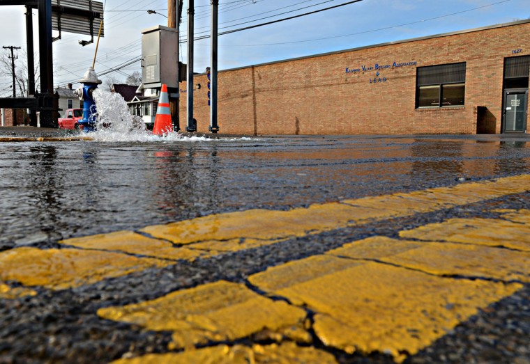"Charleston Fire Department opened fire hydrants in an attempt to flush the public water system on January 10, 2014 in Charleston, West Virginia. West Virginia American Water determined Thursday MCHM chemical had ""overwhelmed"" the plant's capacity to keep it out of the water from a spill at Freedom Industries in Charleston. An unknown amount of the hazardous chemical contaminated the public water system for potentially 300,000 people in West Virginia. (Tom Hindman/Getty Images)"