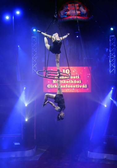 Circus in Budapest: Artists of the Canadian 'Duo Azella' perform during the first day of a 5-day long, 10th International Circus Festival in the Capital Circus of Budapest on January 9, 2014. The final will be held on January 13 here. (KATTILA KISBENEDEK/AFP/Getty Images)
