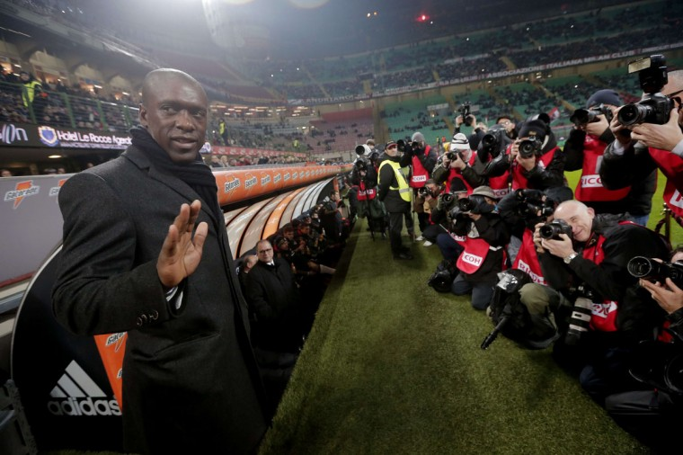 AC Milan's new coach Clarence Seedorf poses prior to the Italian Serie A soccer match vs. Verona at San Siro stadium in Milan on January 19, 2014. (MARCO BERTORELLO/AFP/Getty Images)